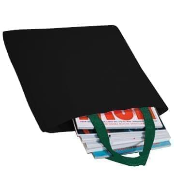 USA Made Poly Market Shopping Tote Bags, Black-Hunter Green, ISAD317AOV