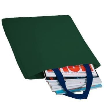 USA Made Poly Market Shopping Tote Bags, Hunter Green-Navy, ISAD317ASZ