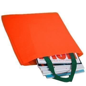 USA Made Poly Market Shopping Tote Bags, Orange-Hunter Green, ISAD317AXV