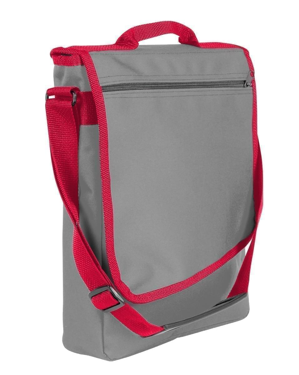 USA Made Nylon Poly Laptop Bags, Grey-Red, LHCBA29A12