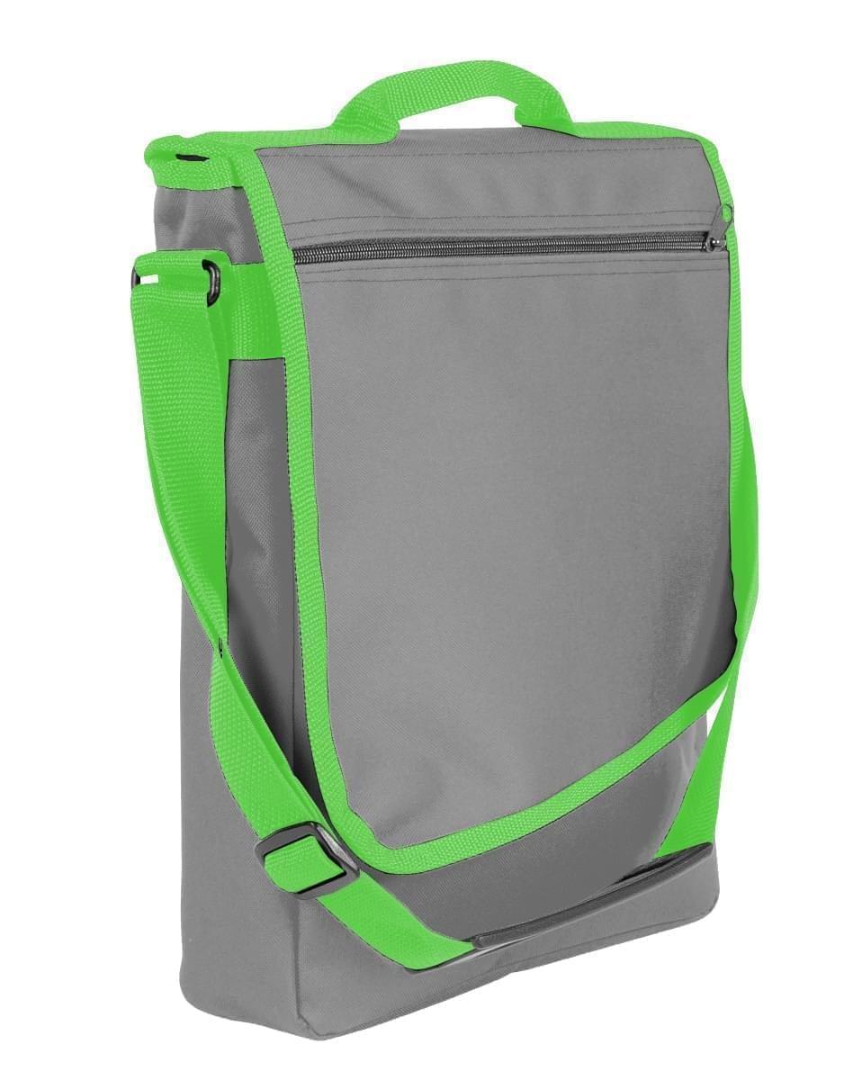 USA Made Nylon Poly Laptop Bags, Grey-Lime, LHCBA29A1Y