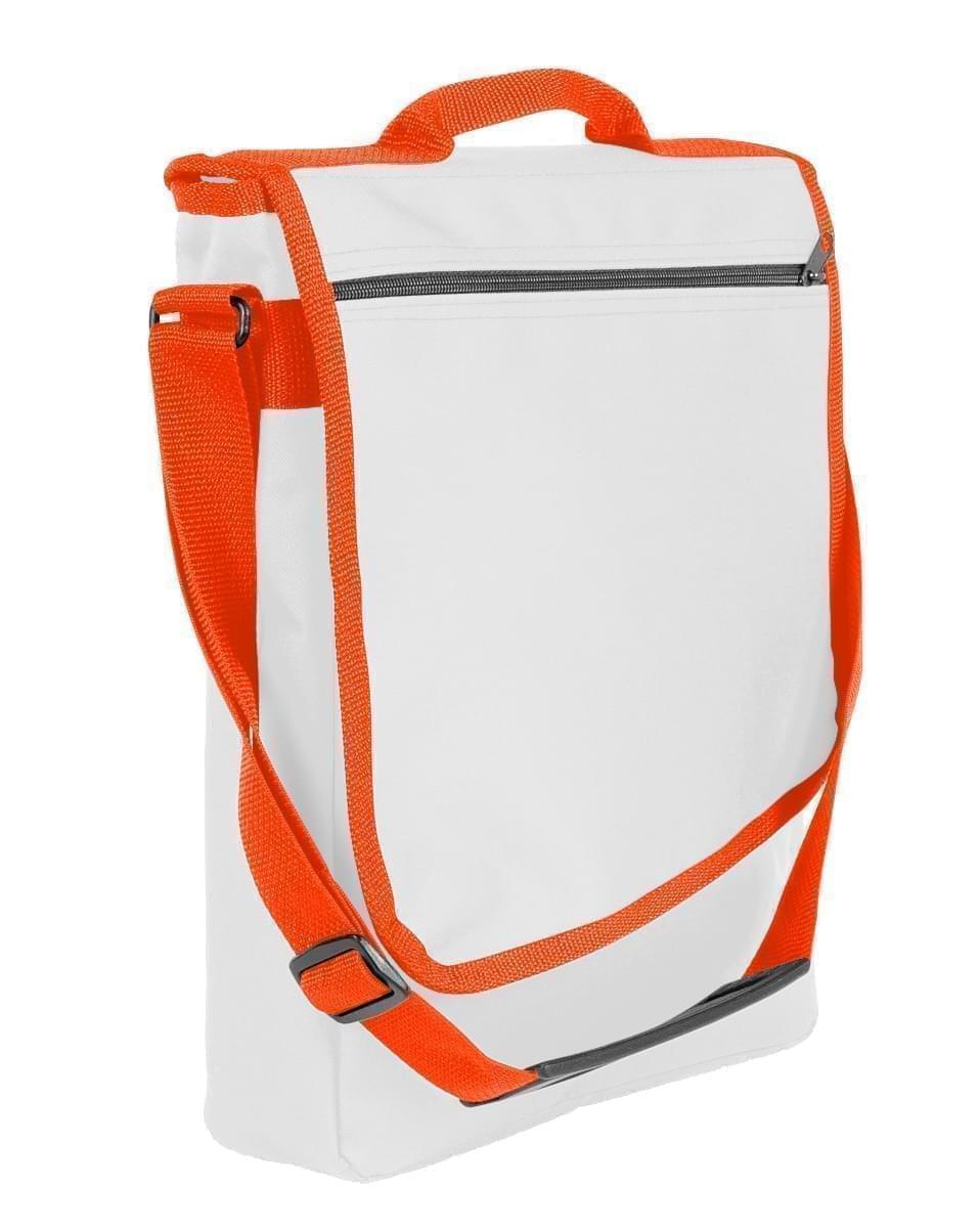 USA Made Nylon Poly Laptop Bags, White-Orange, LHCBA29A30