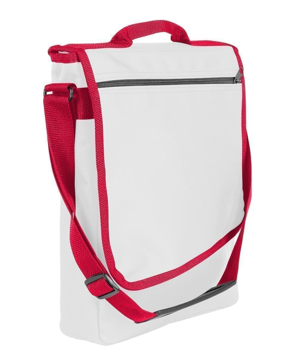 USA Made Nylon Poly Laptop Bags, White-Red, LHCBA29A32