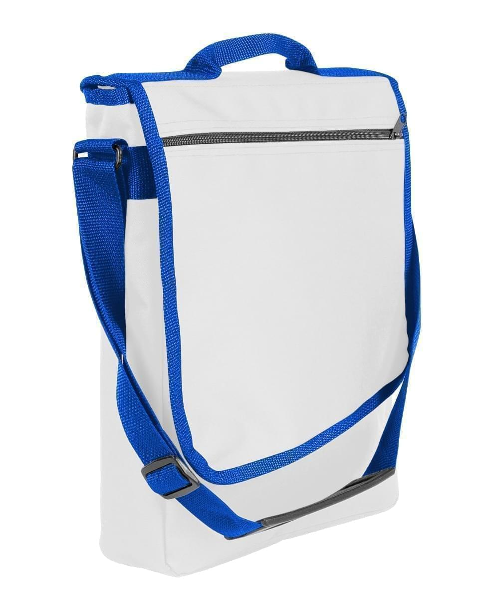 USA Made Nylon Poly Laptop Bags, White-Royal Blue, LHCBA29A33