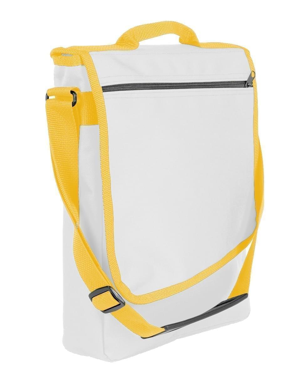USA Made Nylon Poly Laptop Bags, White-Gold, LHCBA29A35
