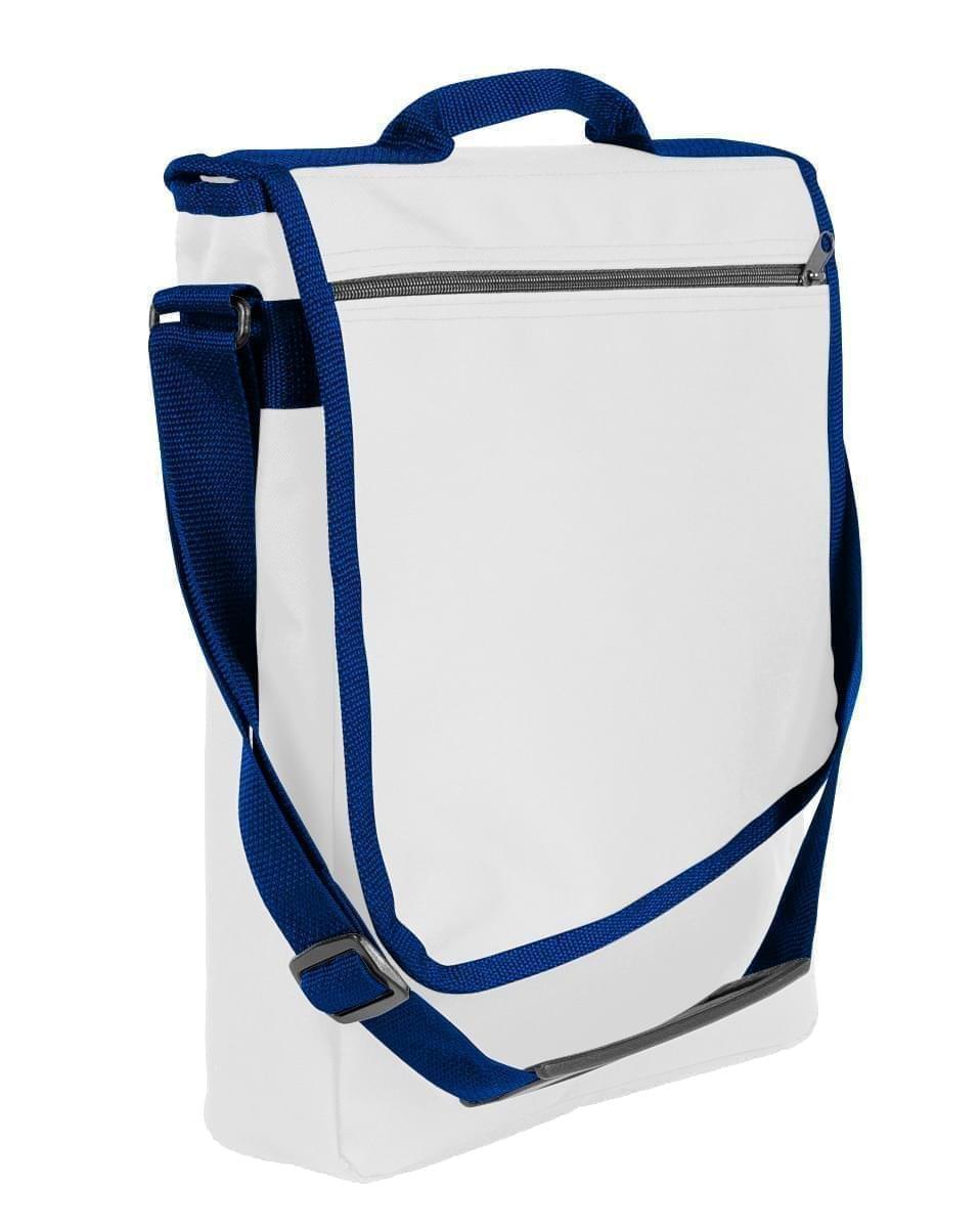 USA Made Nylon Poly Laptop Bags, White-Navy, LHCBA29A3Z