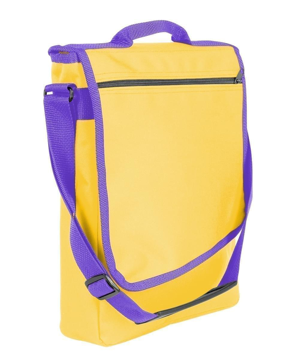 USA Made Nylon Poly Laptop Bags, Gold-Purple, LHCBA29A41