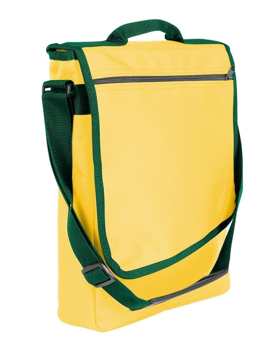 USA Made Nylon Poly Laptop Bags, Gold-Hunter Green, LHCBA29A4V
