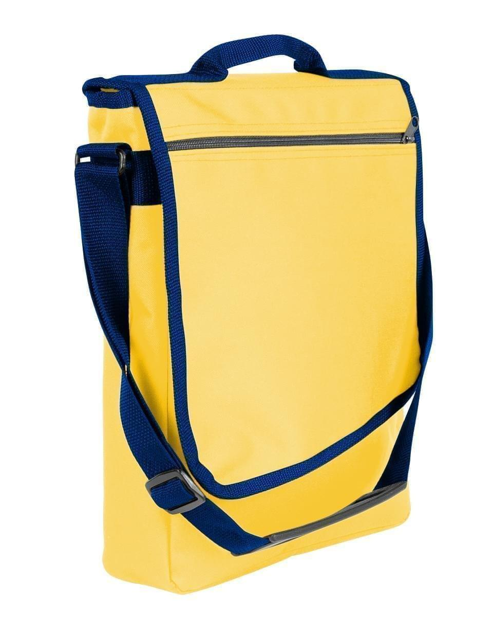 USA Made Nylon Poly Laptop Bags, Gold-Navy, LHCBA29A4Z