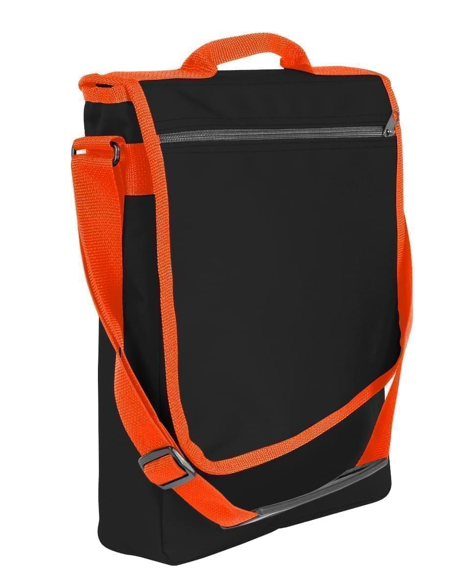 USA Made Nylon Poly Laptop Bags, Black-Orange, LHCBA29AO0
