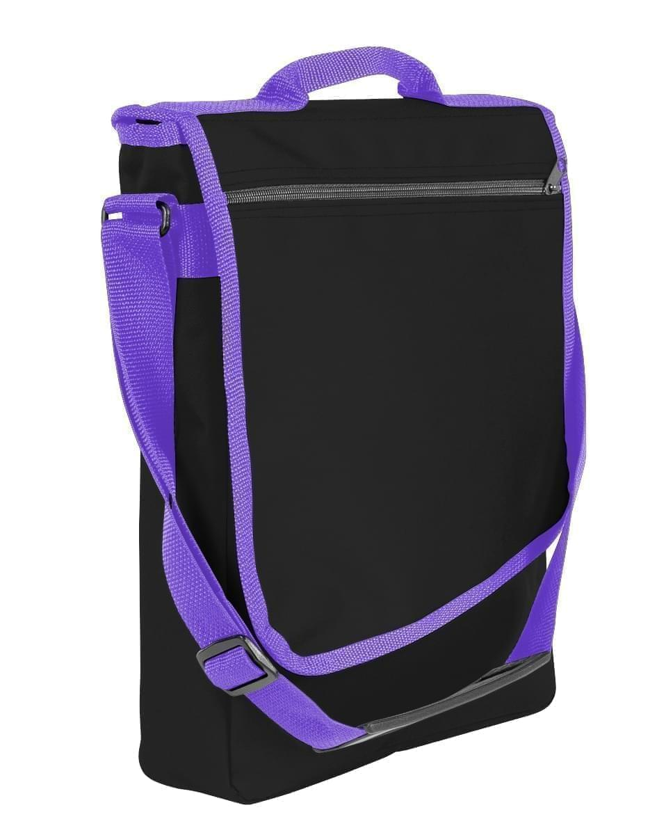 USA Made Nylon Poly Laptop Bags, Black-Purple, LHCBA29AO1