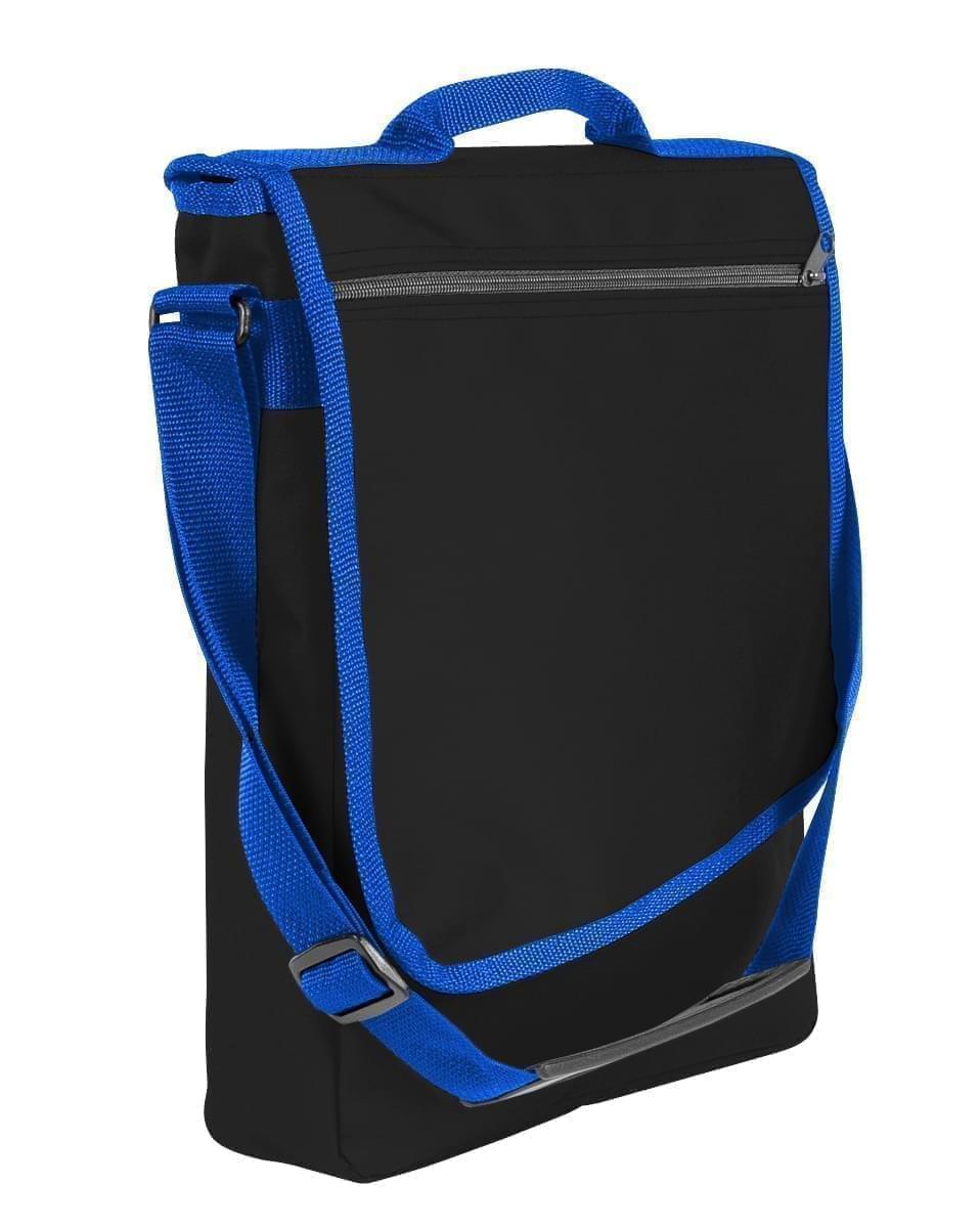 USA Made Nylon Poly Laptop Bags, Black-Royal Blue, LHCBA29AO3