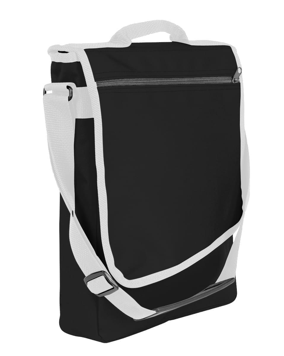 USA Made Nylon Poly Laptop Bags, Black-White, LHCBA29AO4