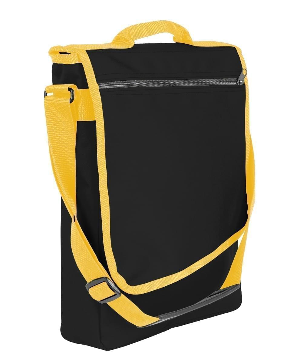 USA Made Nylon Poly Laptop Bags, Black-Gold, LHCBA29AO5