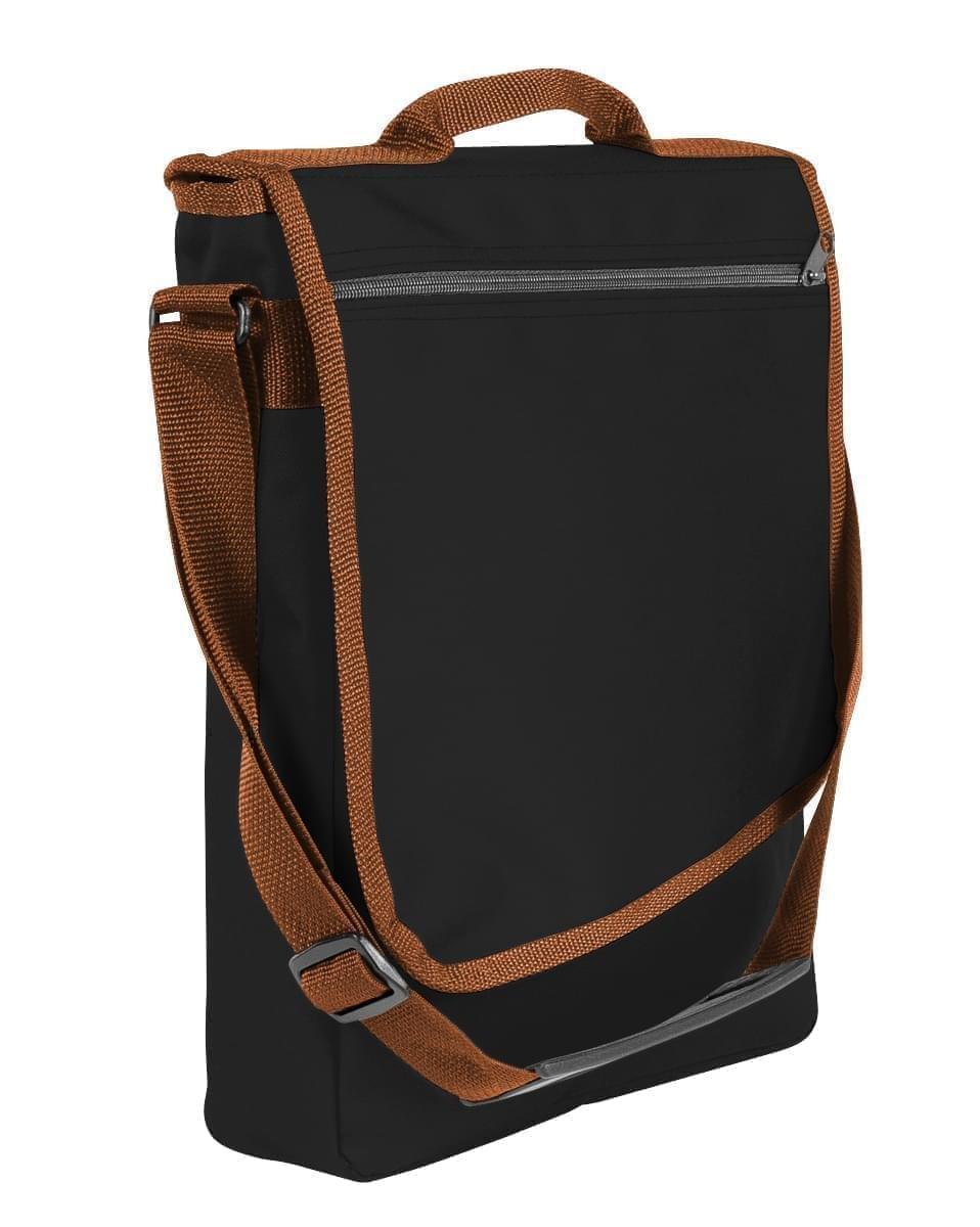 USA Made Nylon Poly Laptop Bags, Black-Brown, LHCBA29AOS