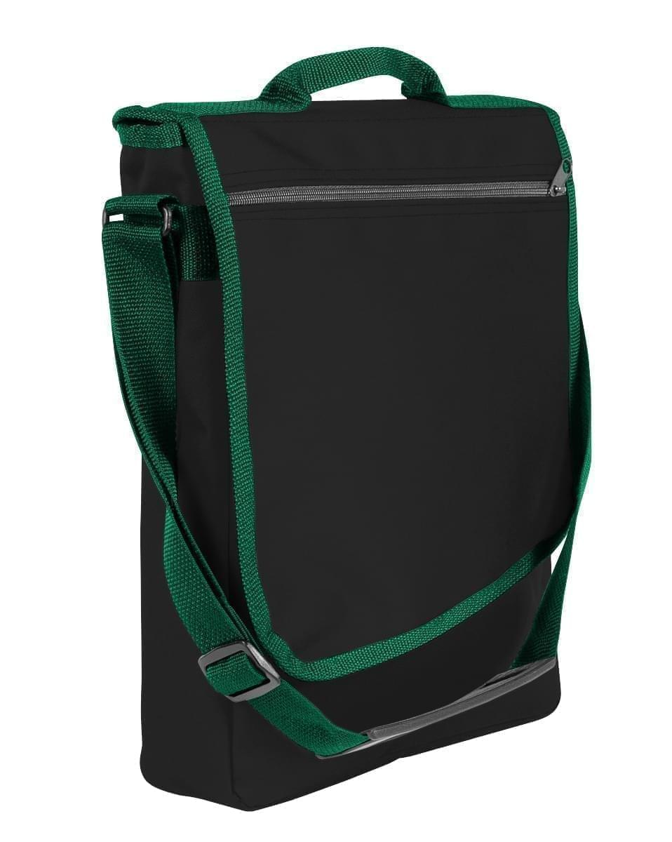 USA Made Nylon Poly Laptop Bags, Black-Hunter Green, LHCBA29AOV