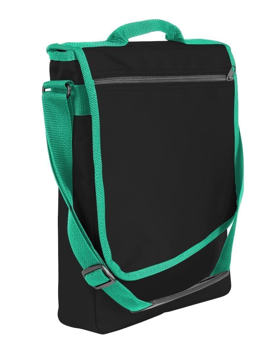 USA Made Nylon Poly Laptop Bags, Black-Kelly Green, LHCBA29AOW