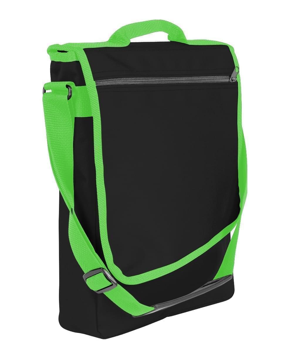USA Made Nylon Poly Laptop Bags, Black-Lime, LHCBA29AOY