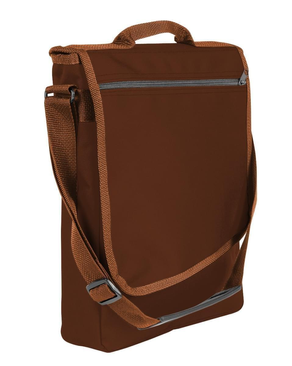 USA Made Nylon Poly Laptop Bags, Brown-Brown, LHCBA29APS