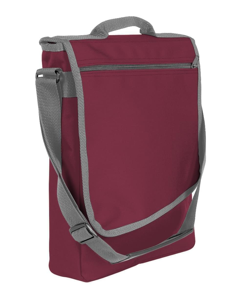 USA Made Nylon Poly Laptop Bags, Burgundy-Graphite, LHCBA29AQT
