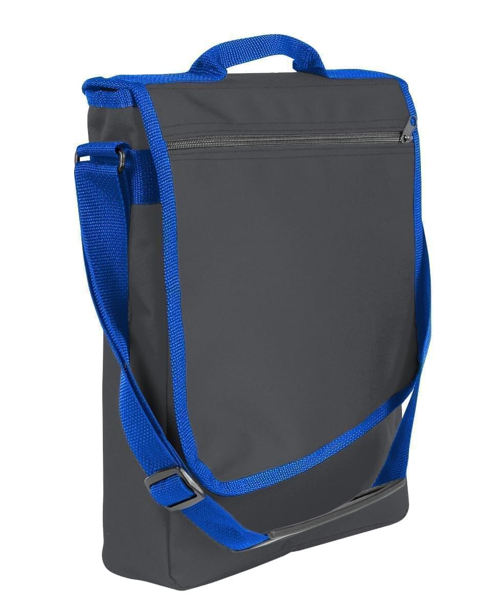 USA Made Nylon Poly Laptop Bags, Graphite-Royal Blue, LHCBA29AR3
