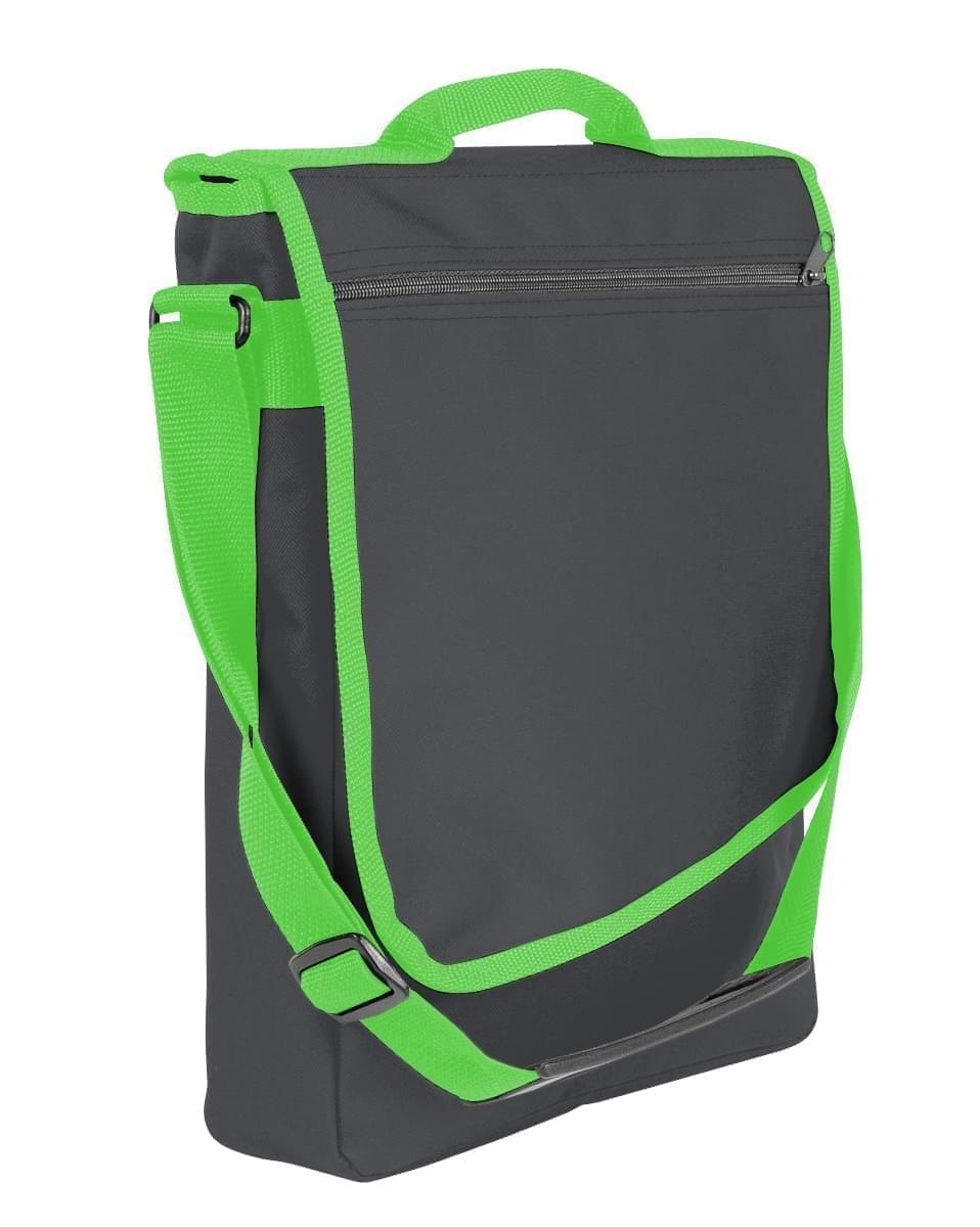 USA Made Nylon Poly Laptop Bags, Graphite-Lime, LHCBA29ARY