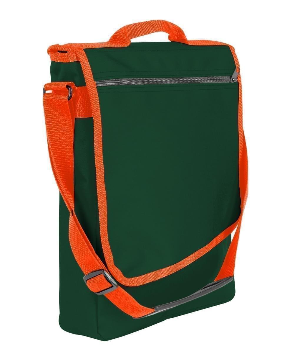 USA Made Nylon Poly Laptop Bags, Hunter Green-Orange, LHCBA29AS0