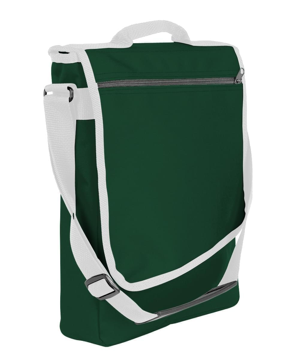 USA Made Nylon Poly Laptop Bags, Hunter Green-White, LHCBA29AS4