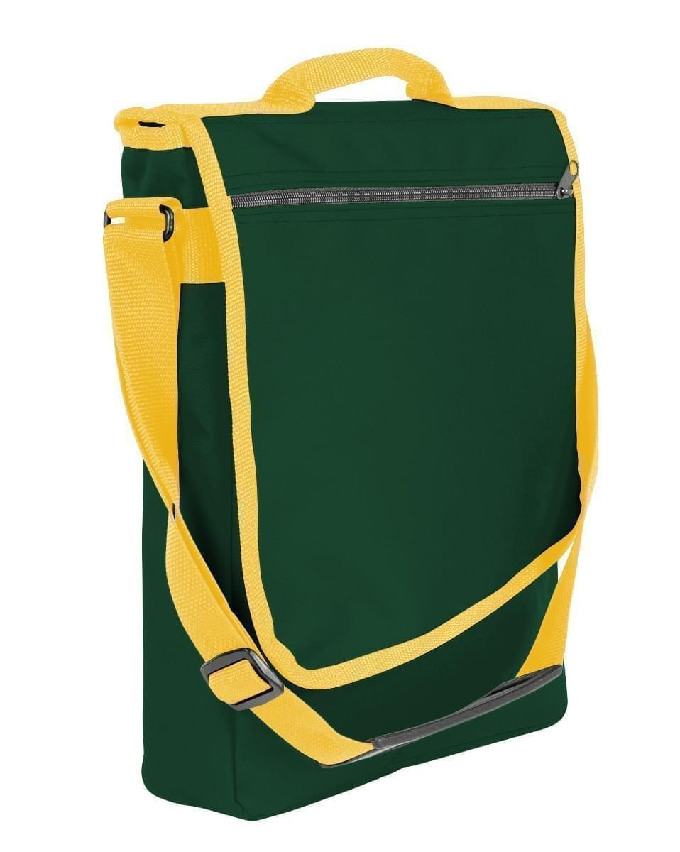 USA Made Nylon Poly Laptop Bags, Hunter Green-Gold, LHCBA29AS5