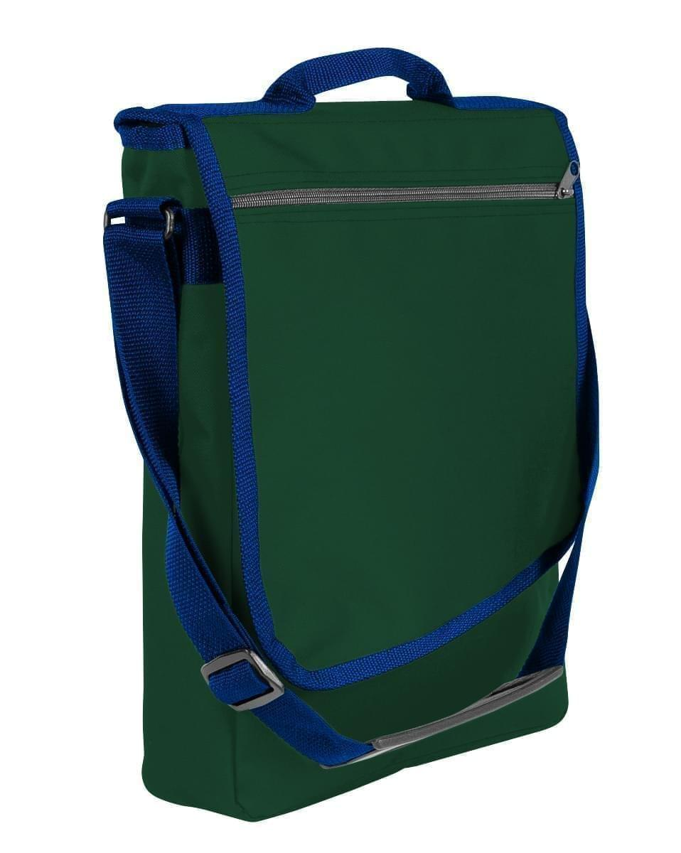USA Made Nylon Poly Laptop Bags, Hunter Green-Navy, LHCBA29ASZ