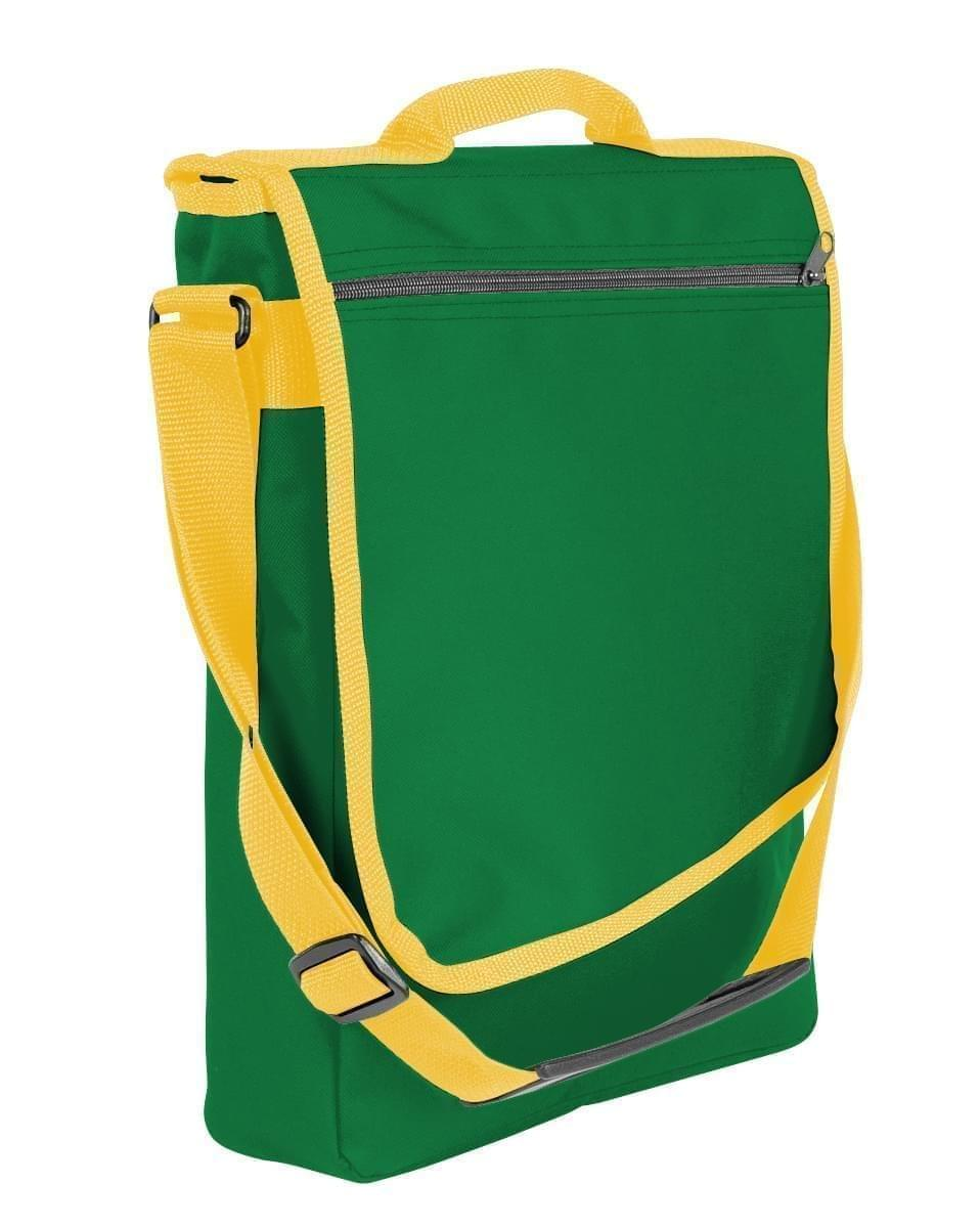 USA Made Nylon Poly Laptop Bags, Kelly Green-Gold, LHCBA29AT5