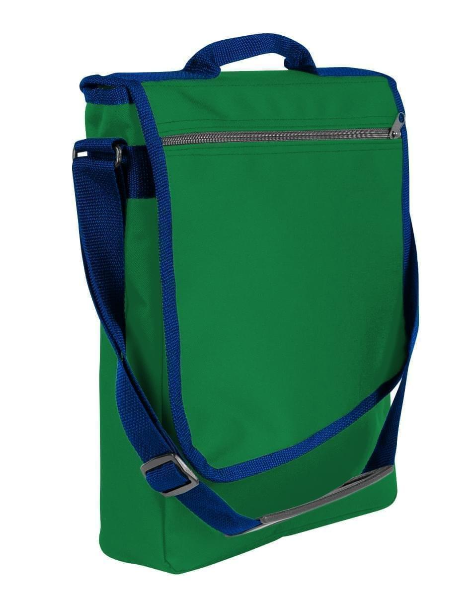 USA Made Nylon Poly Laptop Bags, Kelly Green-Navy, LHCBA29ATZ
