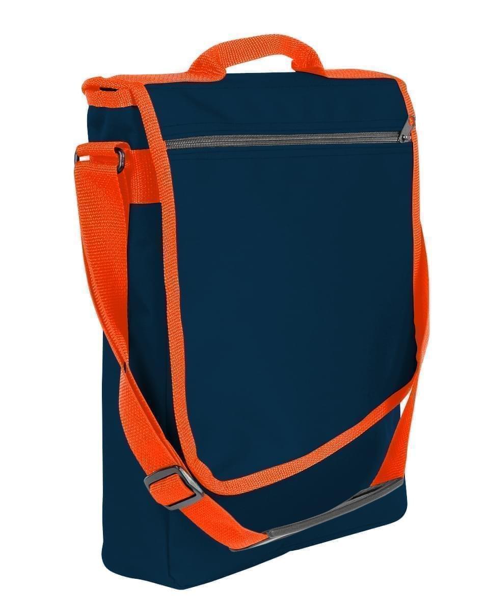 USA Made Nylon Poly Laptop Bags, Navy-Orange, LHCBA29AW0