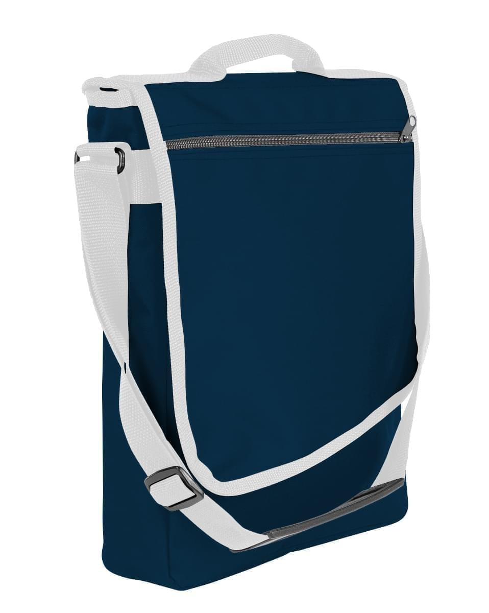 USA Made Nylon Poly Laptop Bags, Navy-White, LHCBA29AW4