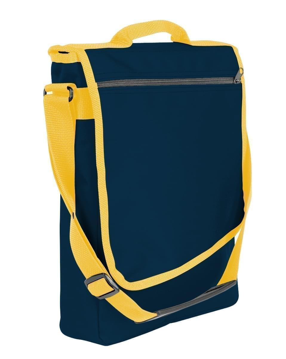 USA Made Nylon Poly Laptop Bags, Navy-Gold, LHCBA29AW5