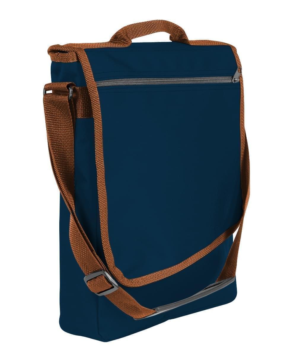 USA Made Nylon Poly Laptop Bags, Navy-Brown, LHCBA29AWS