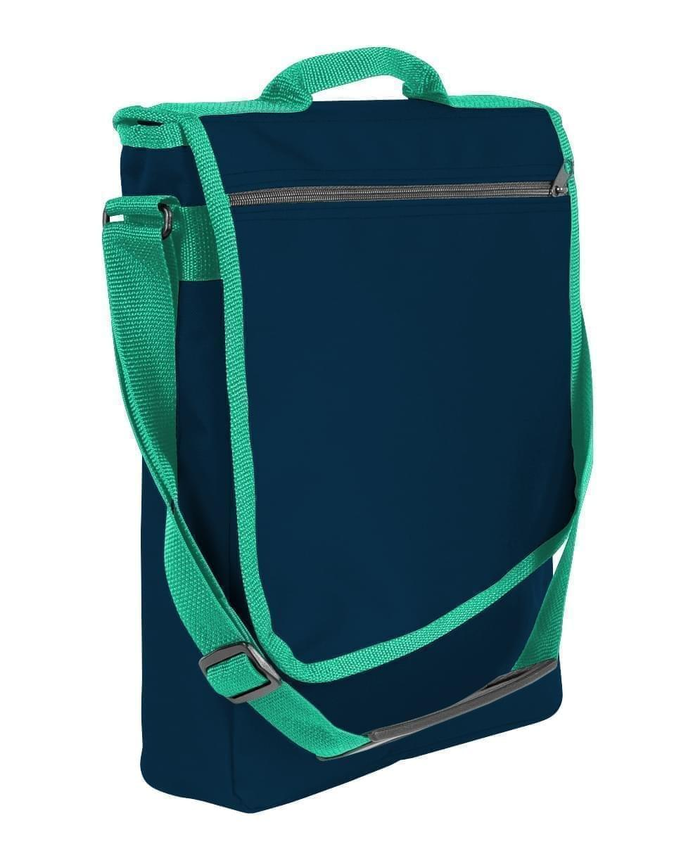 USA Made Nylon Poly Laptop Bags, Navy-Kelly Green, LHCBA29AWW