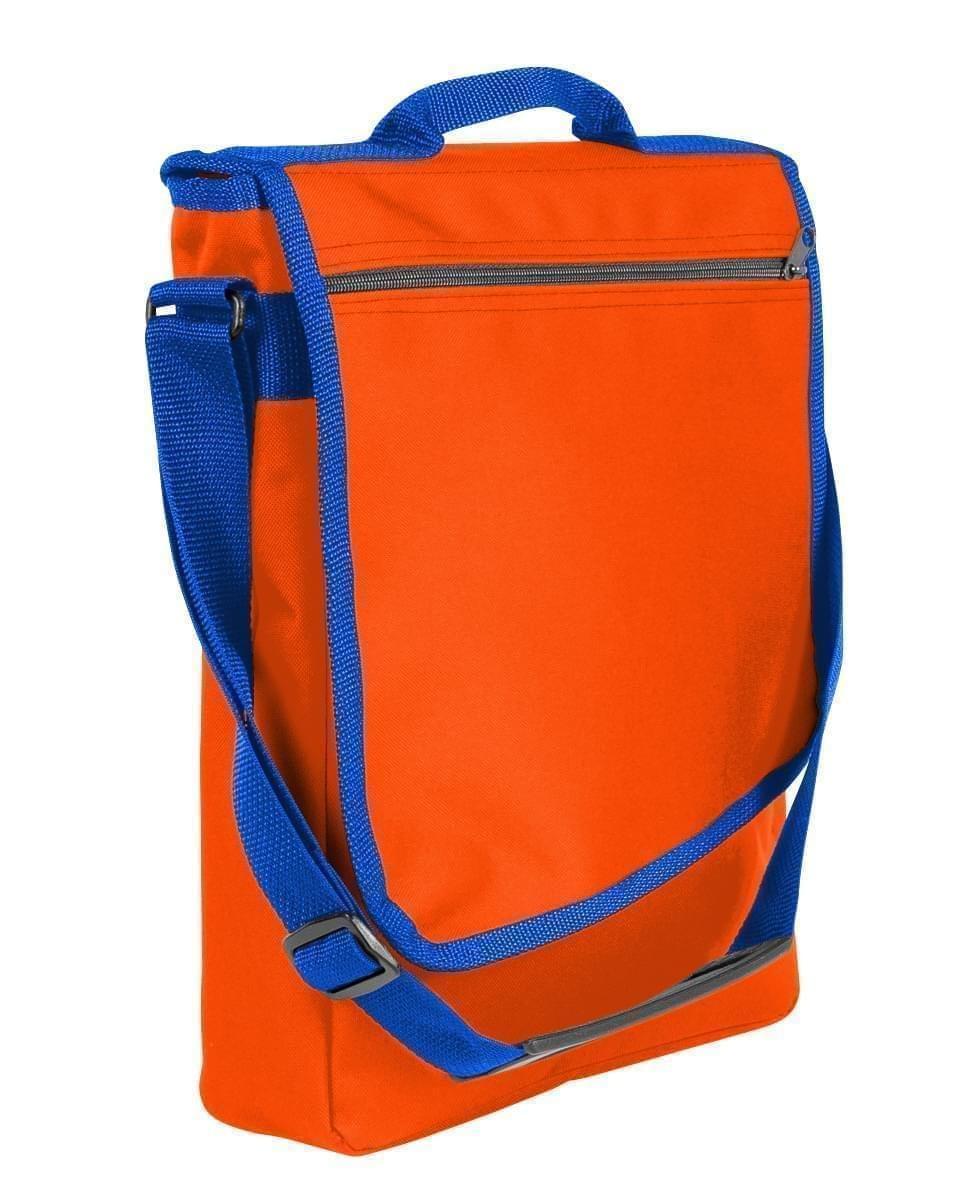 USA Made Nylon Poly Laptop Bags, Orange-Royal Blue, LHCBA29AX3