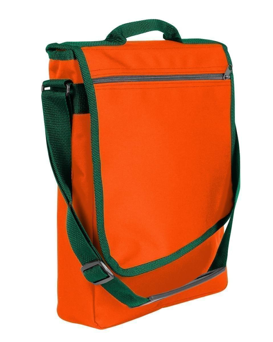 USA Made Nylon Poly Laptop Bags, Orange-Hunter Green, LHCBA29AXV