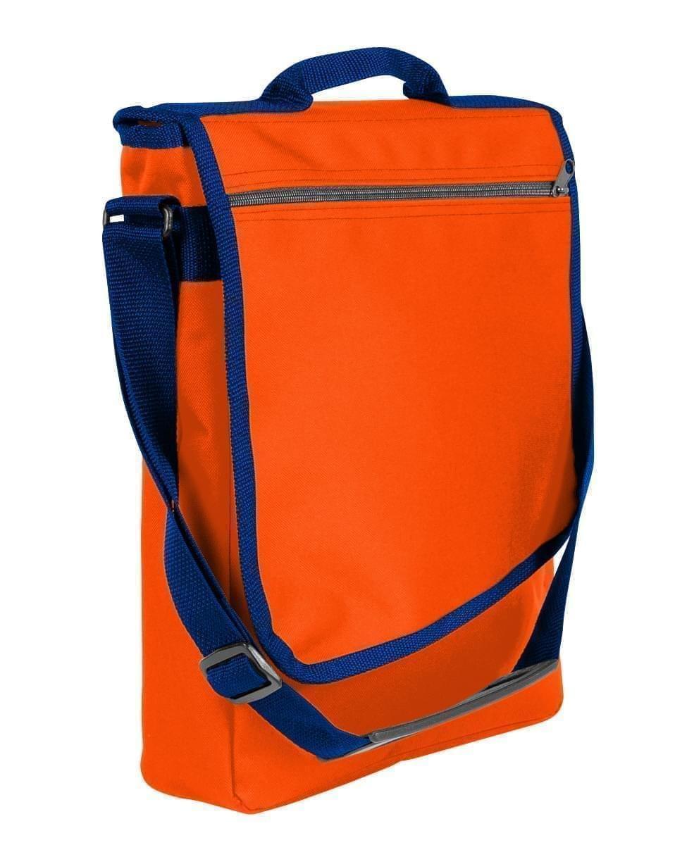 USA Made Nylon Poly Laptop Bags, Orange-Navy, LHCBA29AXZ