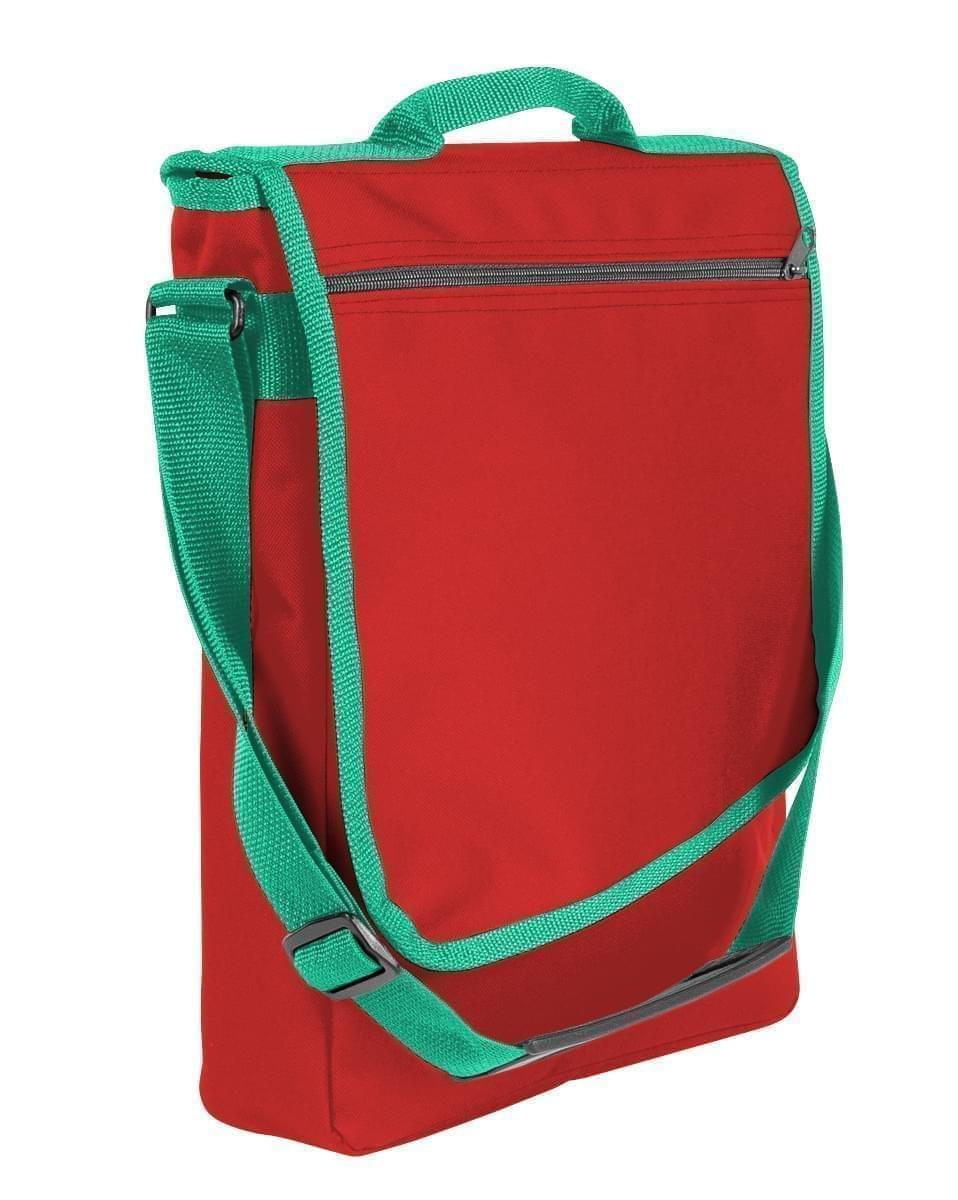 USA Made Nylon Poly Laptop Bags, Red-Kelly Green, LHCBA29AZW