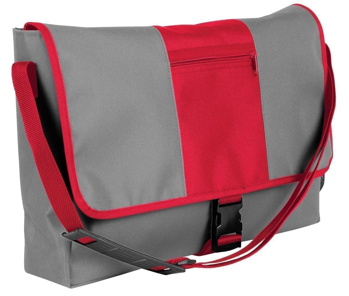 USA Made Nylon Poly Dad Shoulder Bags, Grey-Red, OHEDA19A1L