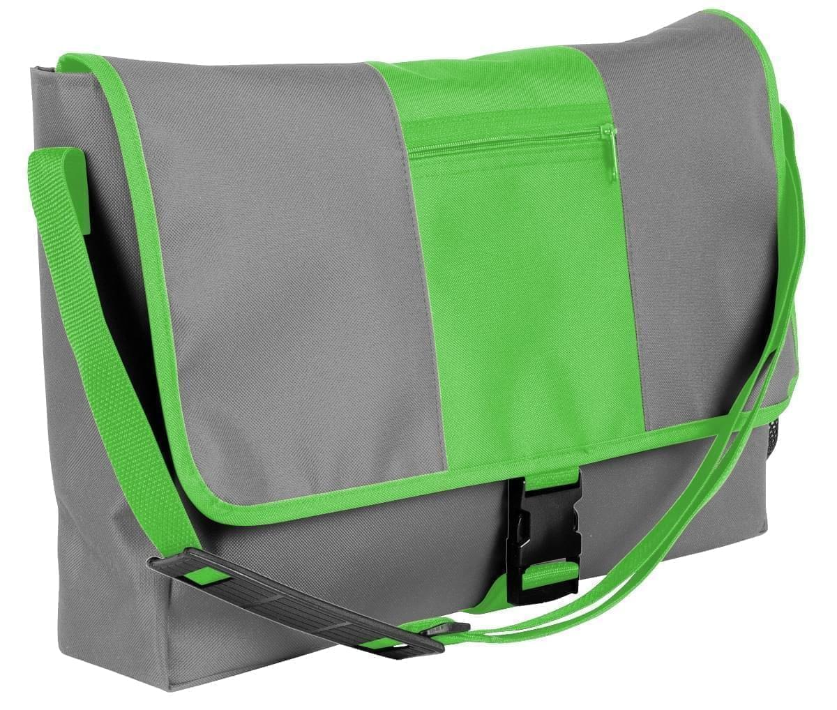 USA Made Nylon Poly Dad Shoulder Bags, Grey-Lime, OHEDA19A1Y