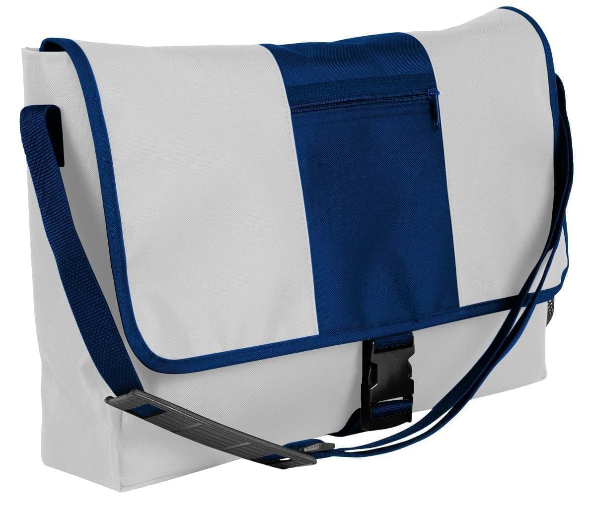 USA Made Nylon Poly Dad Shoulder Bags, White-Navy, OHEDA19A3I