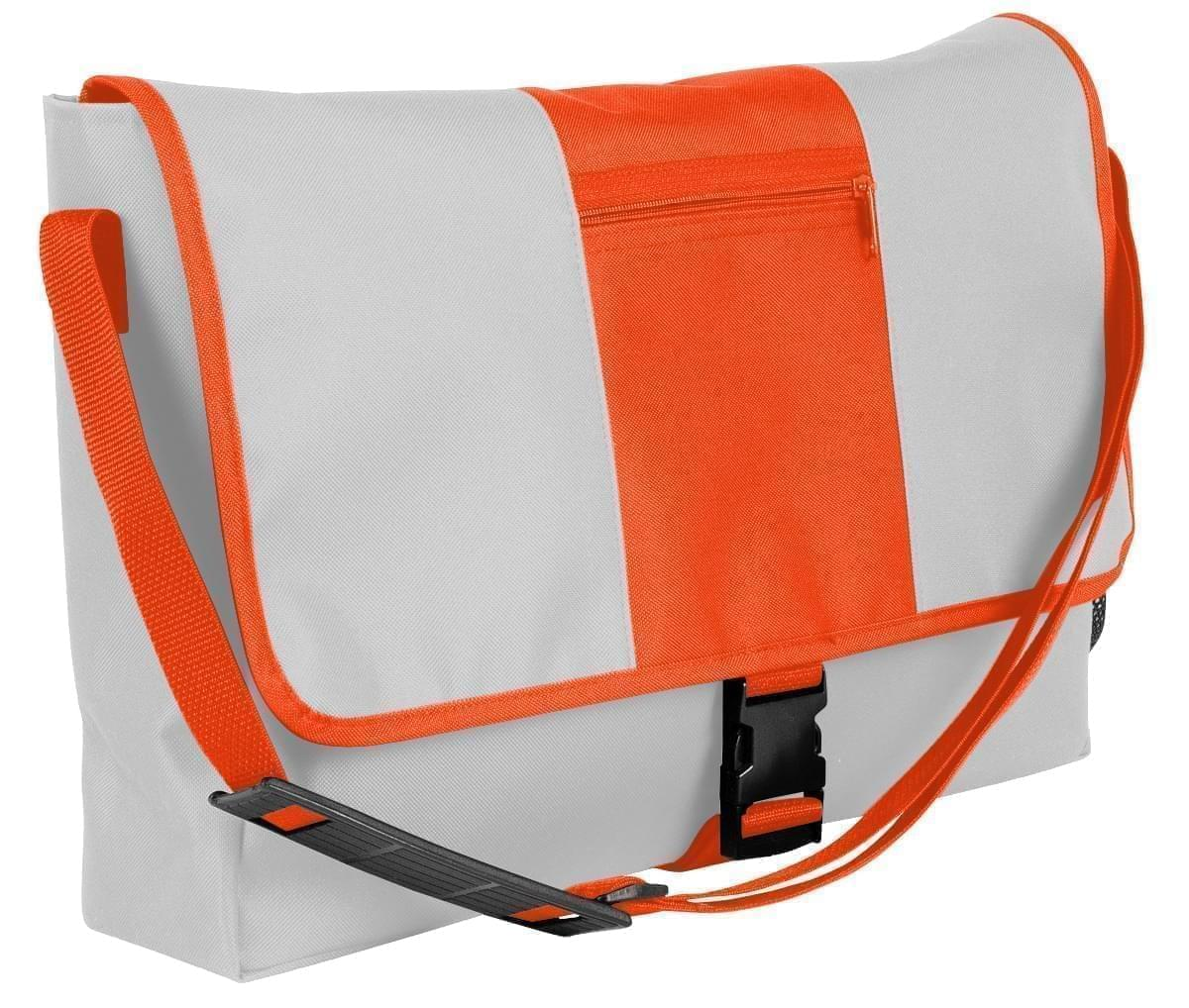 USA Made Nylon Poly Dad Shoulder Bags, White-Orange, OHEDA19A3J