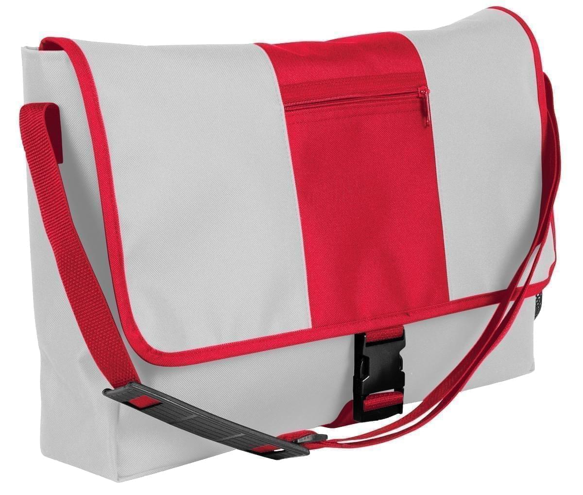 USA Made Nylon Poly Dad Shoulder Bags, White-Red, OHEDA19A3L