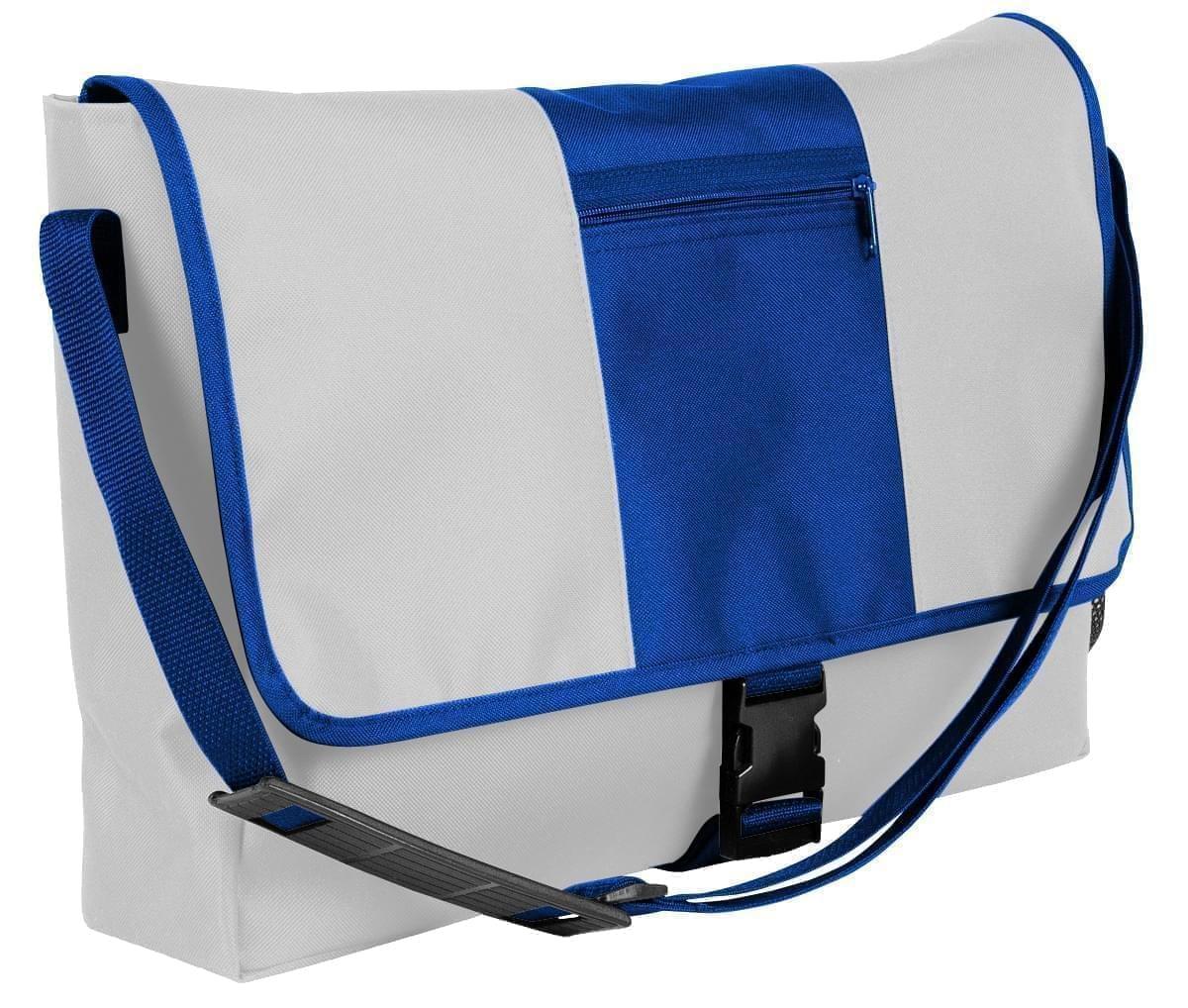 USA Made Nylon Poly Dad Shoulder Bags, White-Royal Blue, OHEDA19A3M