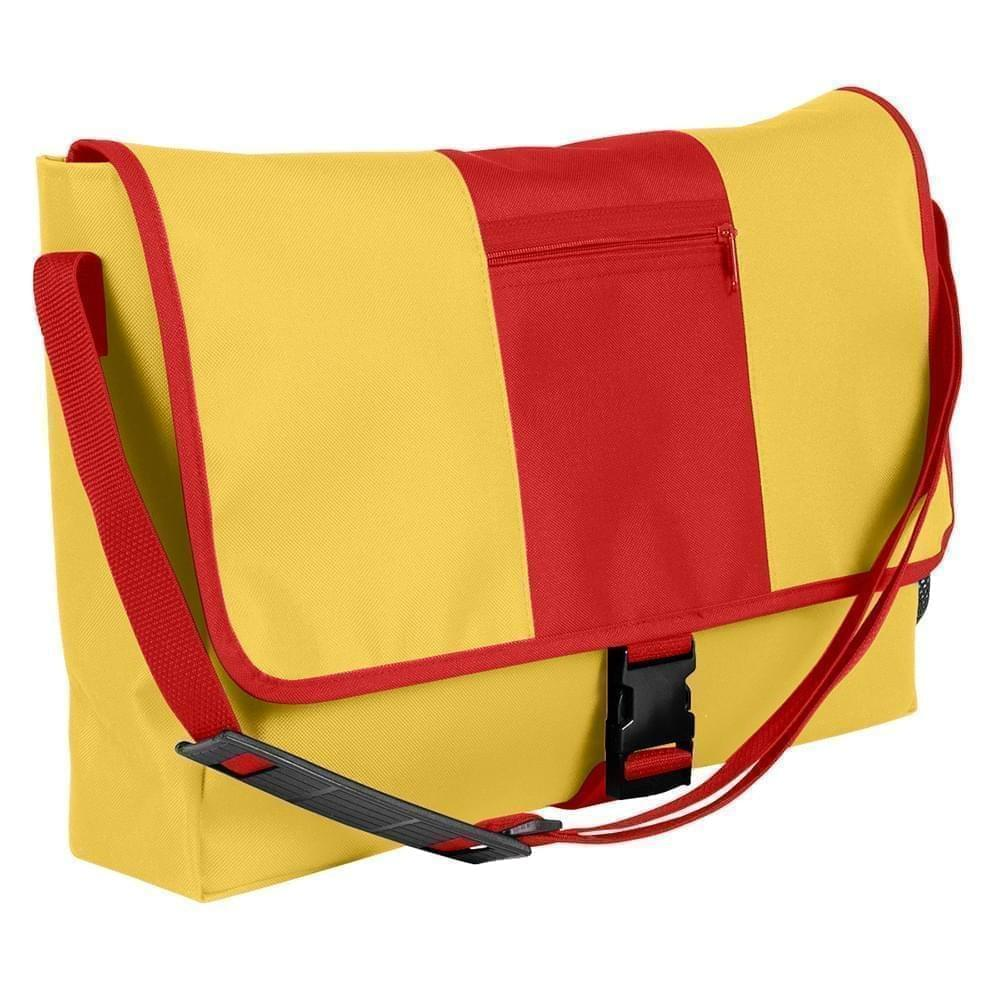 USA Made Nylon Poly Dad Shoulder Bags, Gold-Red, OHEDA19A4L