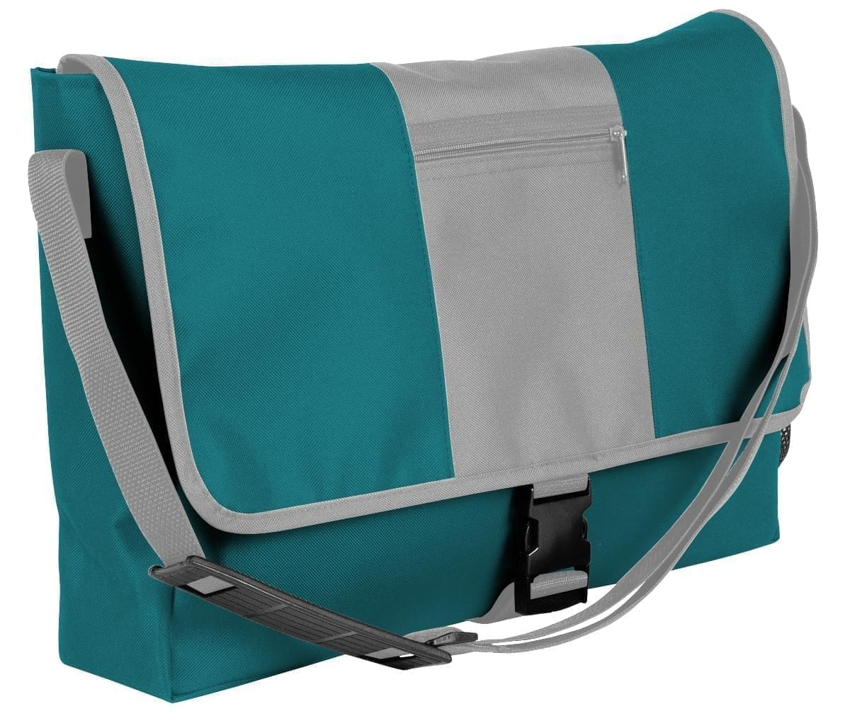 USA Made Nylon Poly Dad Shoulder Bags, Turquoise-Grey, OHEDA19A9N
