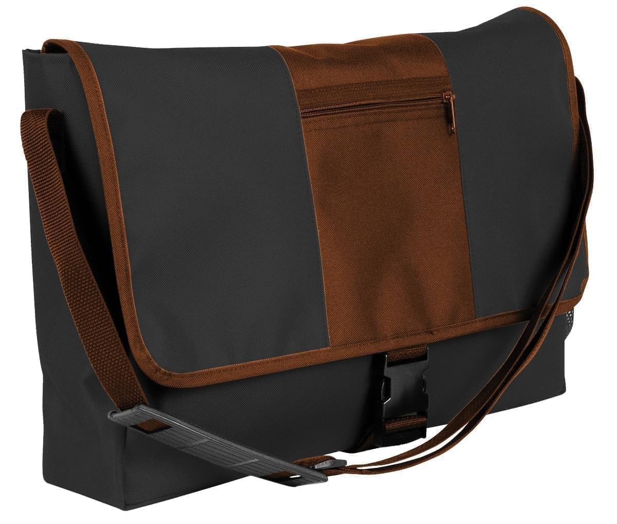 USA Made Nylon Poly Dad Shoulder Bags, Black-Brown, OHEDA19AOD